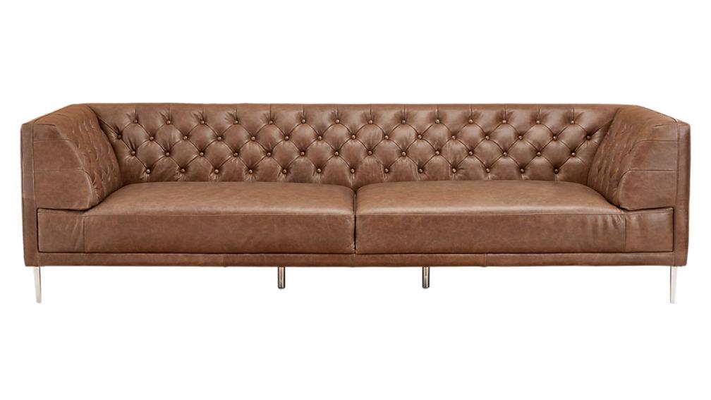 Savile Dark Saddle Brown Leather Tufted Extra Large Sofa