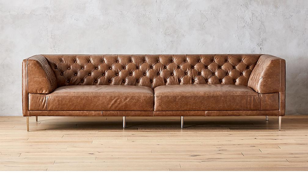 savile dark saddle leather tufted extra large sofa in sofas reviews cb2. Black Bedroom Furniture Sets. Home Design Ideas