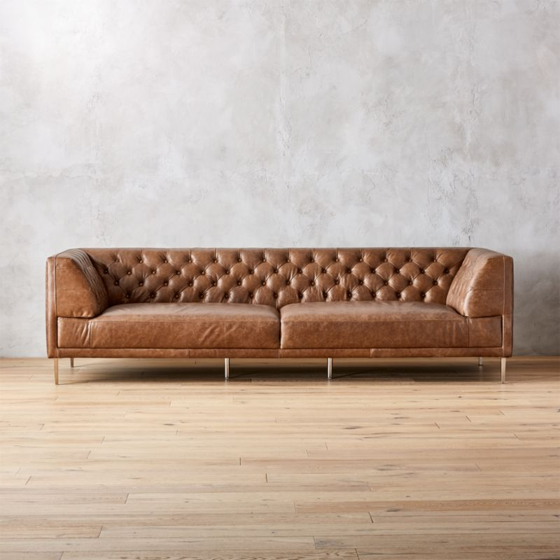 Savile Dark Saddle Leather Tufted Extra Large Sofa