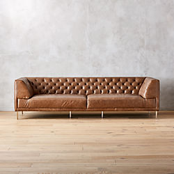 Savile Dark Saddle Brown Leather Tufted Extra Large Sofa
