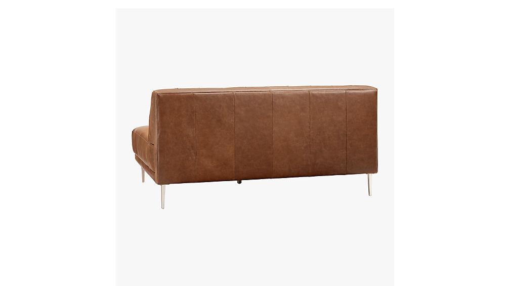 Savile Dark Saddle Brown Leather Tufted Armless Sofa Cb2