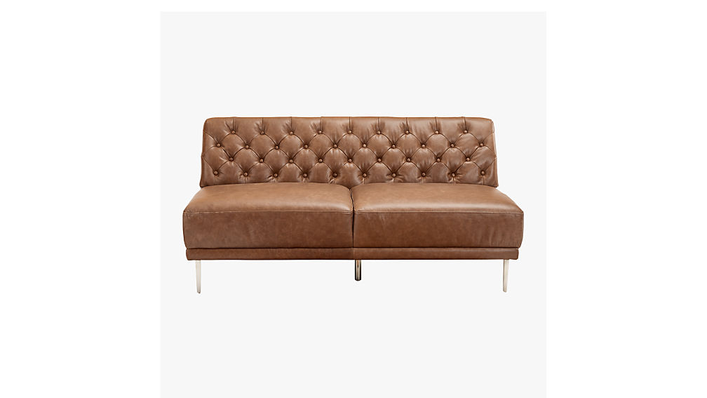 Savile Dark Saddle Brown Leather Tufted Armless Sofa
