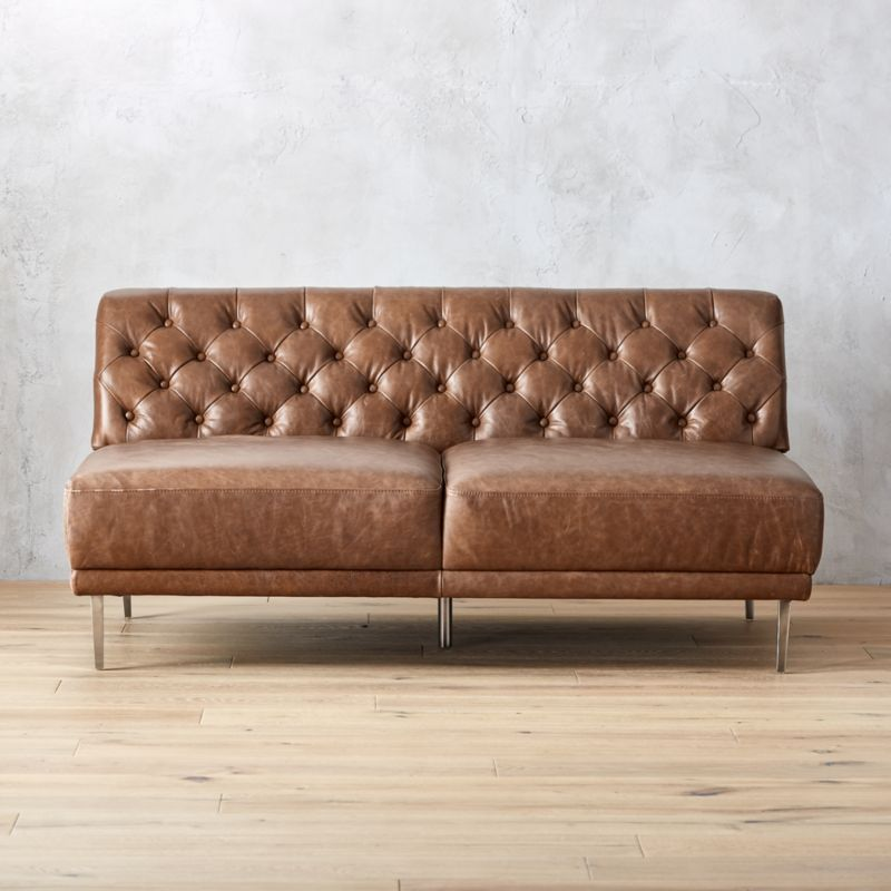 Savile Dark Saddle Leather Tufted Armless Sofa Cb2