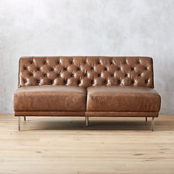 Savile Dark Saddle Brown Leather Tufted Armless Sofa