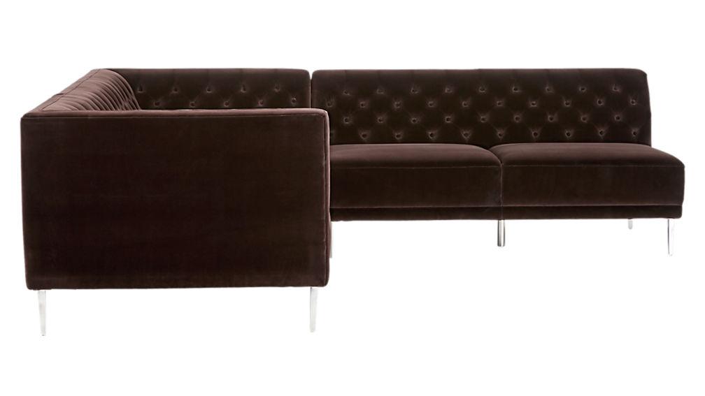 Savile Cocoa Brown Velvet Tufted Sectional Sofa