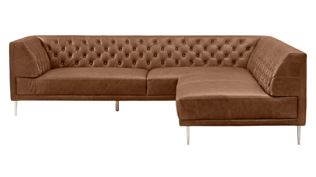 Savile Dark Saddle Brown Leather Tufted Sectional Sofa Cb2