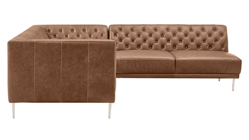 Savile Dark Saddle Brown Leather Tufted Sectional Sofa