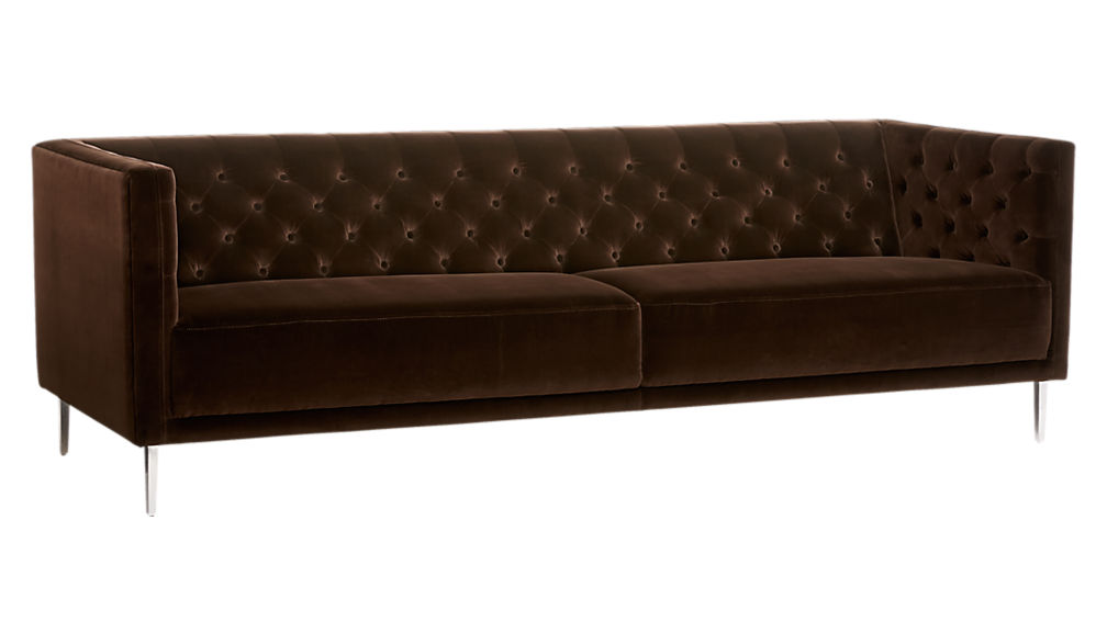 Savile Cocoa Brown Velvet Tufted Sofa