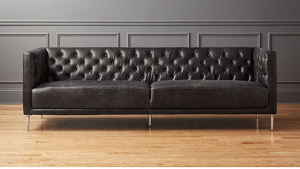 Extra Long Leather Chesterfield Sofa