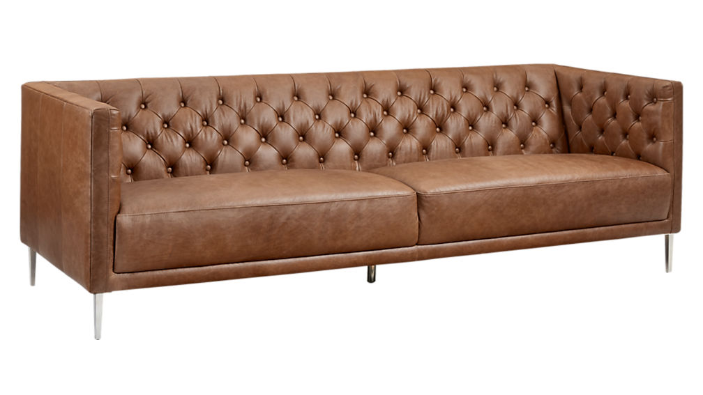 Brown tufted sofa savile dark saddle brown leather tufted for Cb2 leather sectional