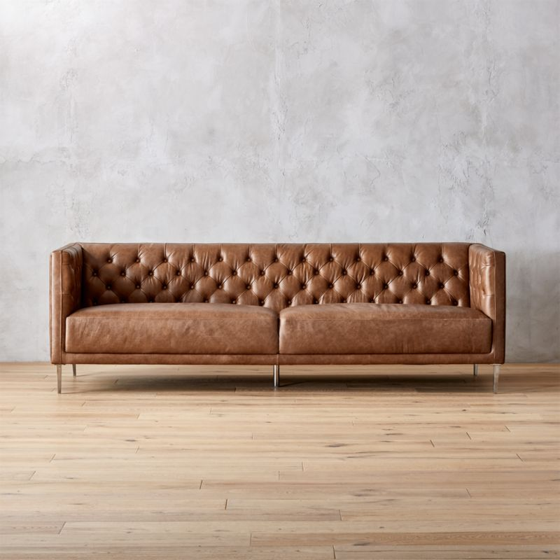Savile Dark Saddle Brown Leather Tufted Sofa Cb2