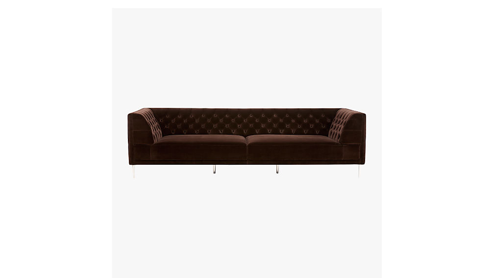 Savile Cocoa Brown Velvet Tufted Extra Large Sofa