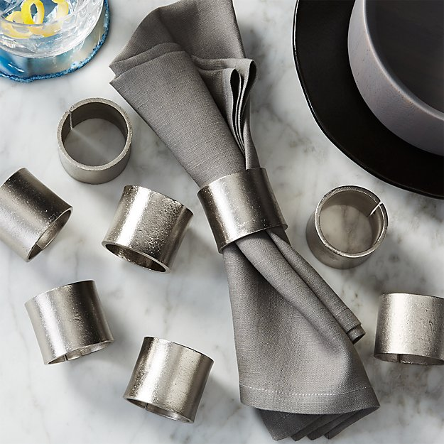 set of 8 scott silver napkin rings