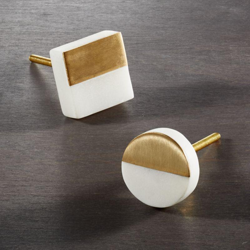 selene white marble knobs | CB2