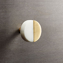 selene round marble and brass knob