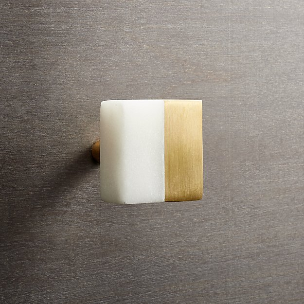 selene square marble and brass knob
