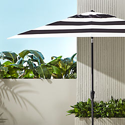 shadow rectangular black and white stripe umbrella shade with pole
