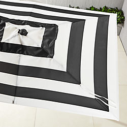 shadow rectangular black and white stripe umbrella shade