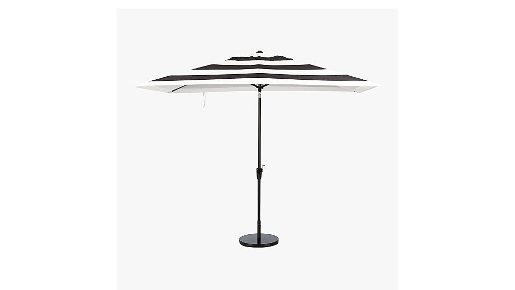 shadow rectangular black and white stripe umbrella with base