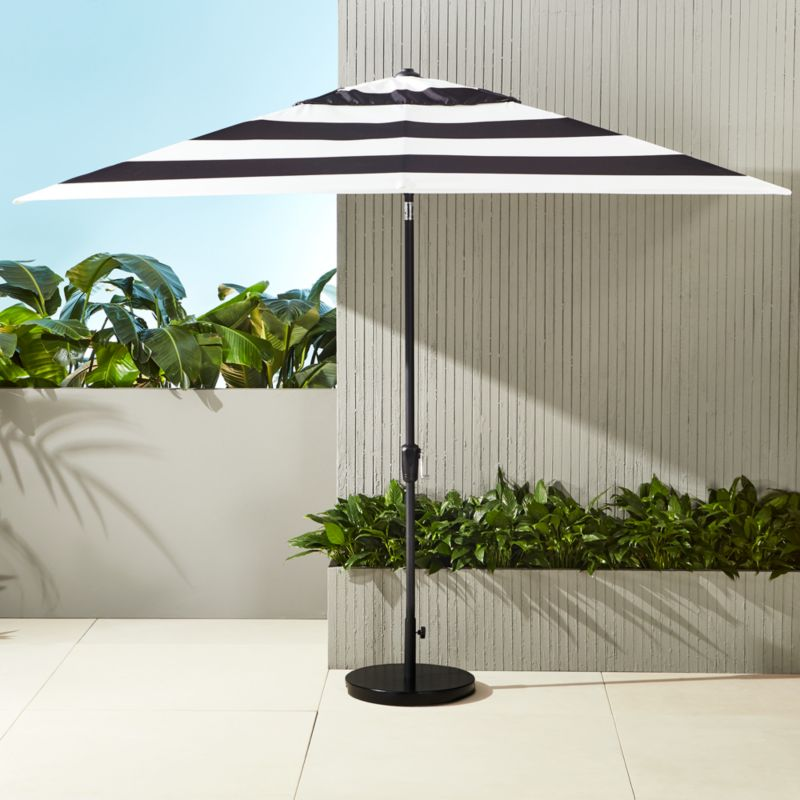 shadow rectangular black and white stripe umbrella with base in outdoor furniture reviews cb2. Black Bedroom Furniture Sets. Home Design Ideas