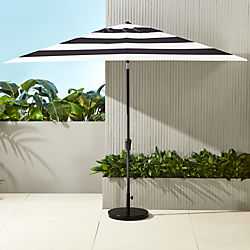 shadow rectangular black and white stripe umbrella with base