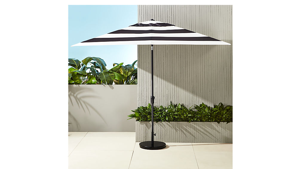 shadow rectangular black and white stripe umbrella shade