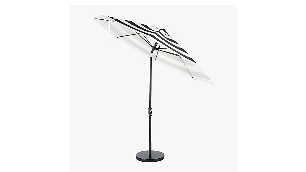 shadow round black and white stripe umbrella with base