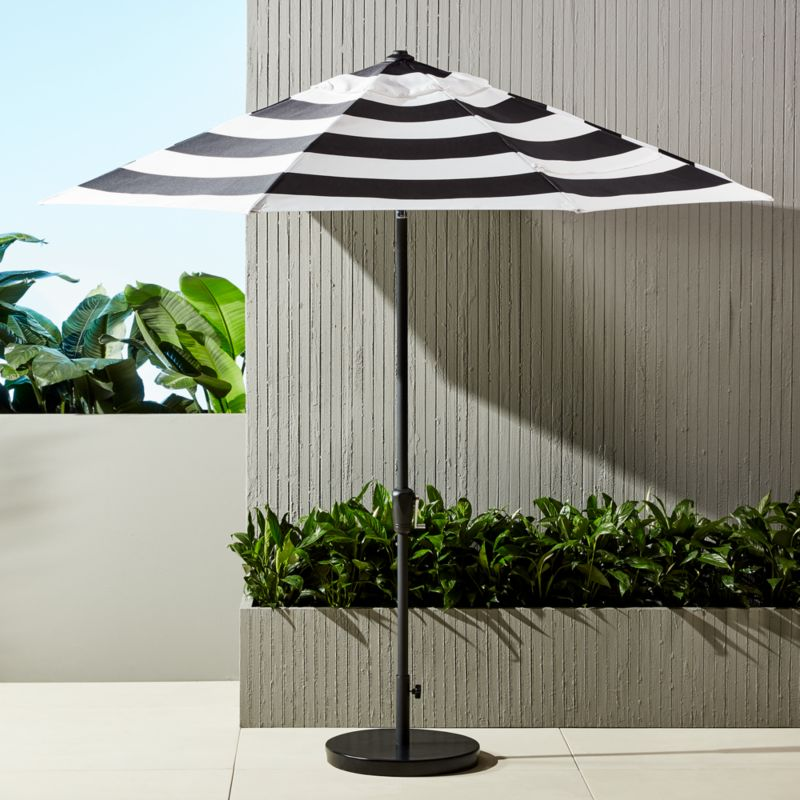 shadow round black and white stripe umbrella with base in outdoor furniture reviews cb2. Black Bedroom Furniture Sets. Home Design Ideas