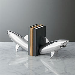 silver shark bookend