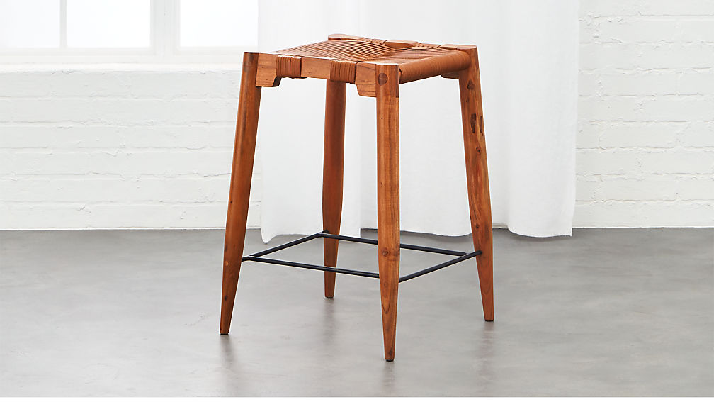 Nahla Saddle Leather Counter Stool 24""