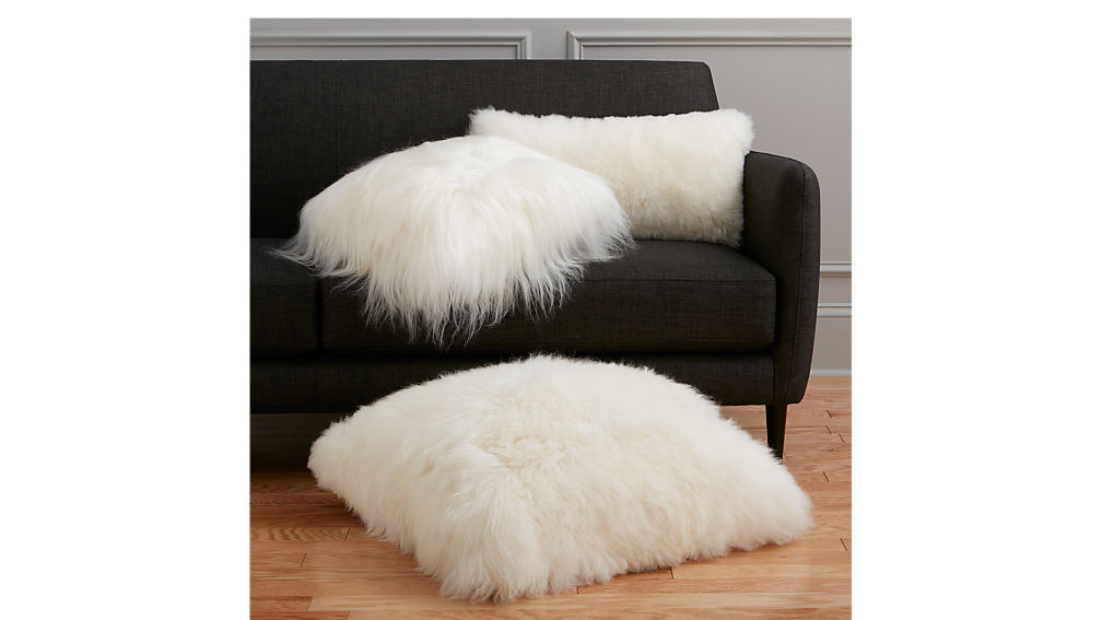 "24"" icelandic sheepskin pillow-cushion with feather-down insert"