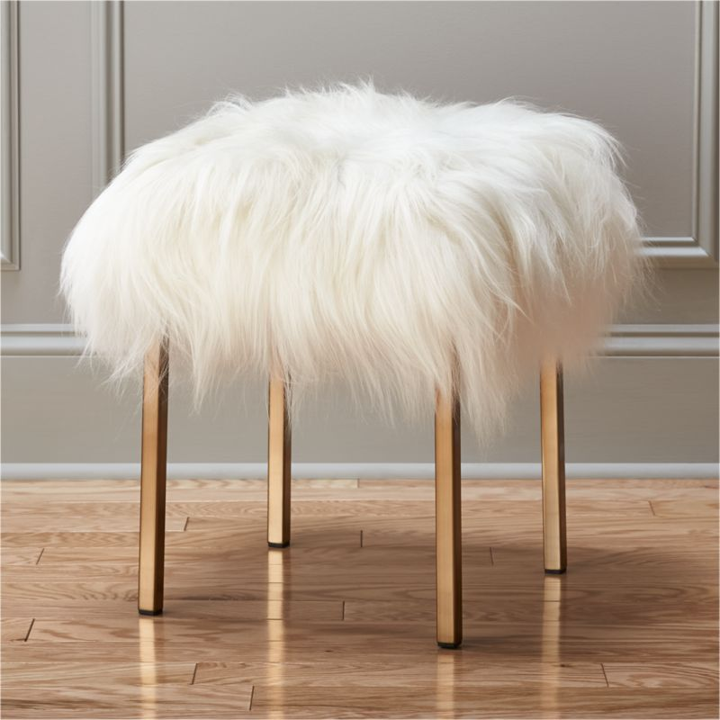 the gold stool fuzzy sheepskin stool cb2