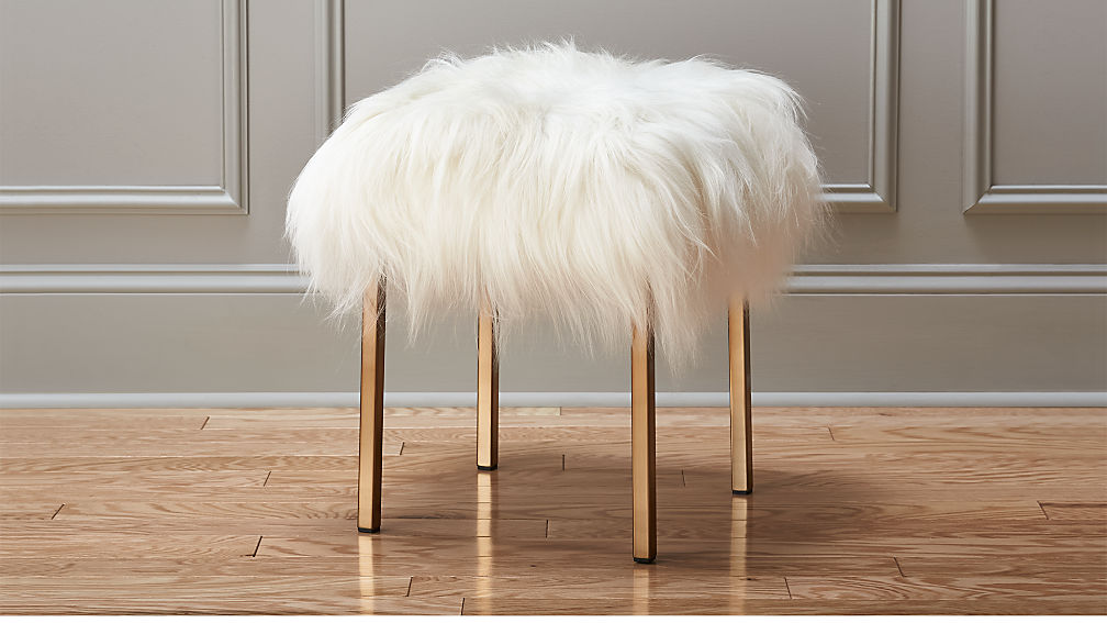 Fuzzy Sheepskin Stool Cb2