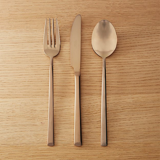 3-piece shiny copper flatware set