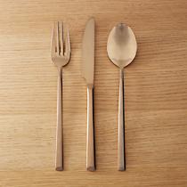3-piece shiny copper flatware set