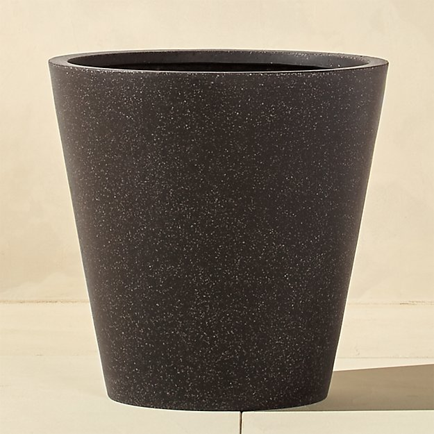 shore polyterrazzo wide black planter