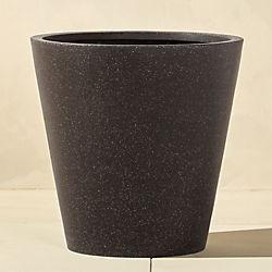 shore polyterrazzo wide black planter