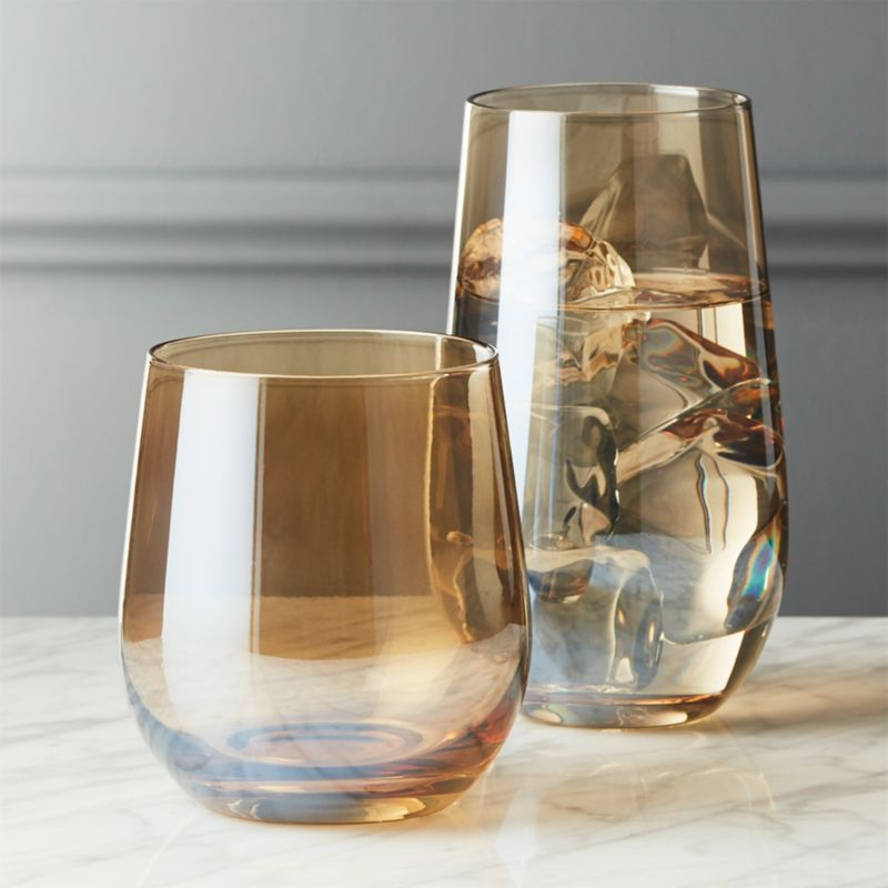 Captivating Sienna Amber Luster Barware