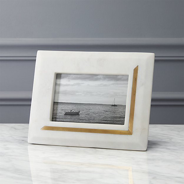 silas marble-brass 4x6 picture frame