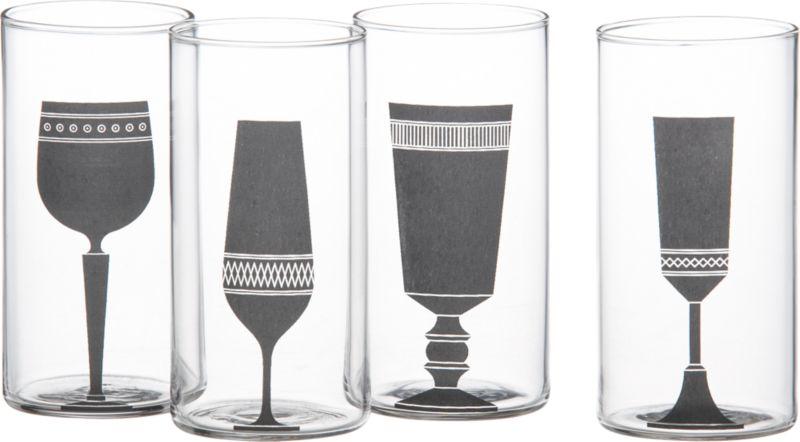 4-piece silhouette wine glass set