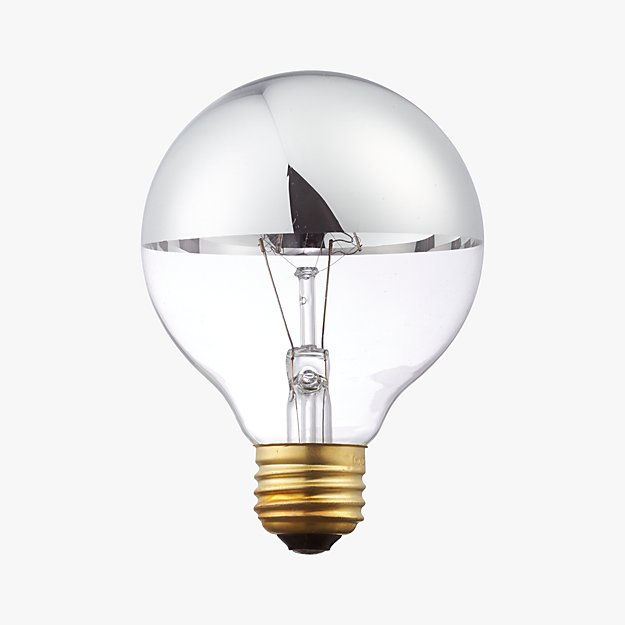 g25 silver tipped 60w light bulb reviews cb2. Black Bedroom Furniture Sets. Home Design Ideas