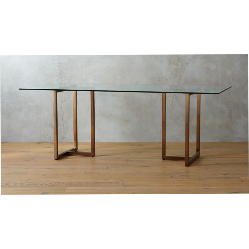 silverado 80 brass sawhorse dining table CB2