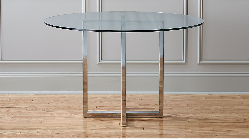 "Round Dining Table silverado chrome 47"" round dining table 
