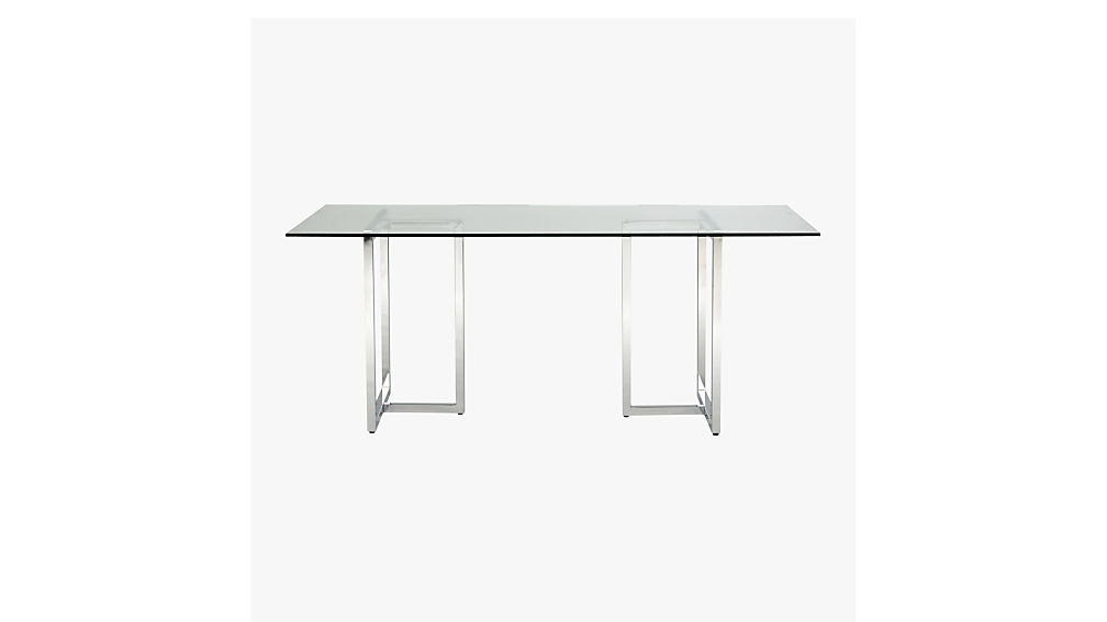 "Rectangle Glass Dining Table silverado 72"" chrome dining table 