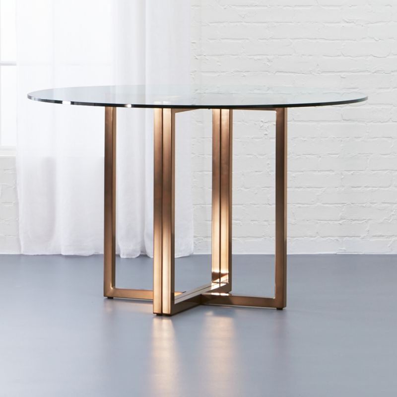 Silverado brass 47 round dining table cb2 - Modern dining tables for small spaces concept ...