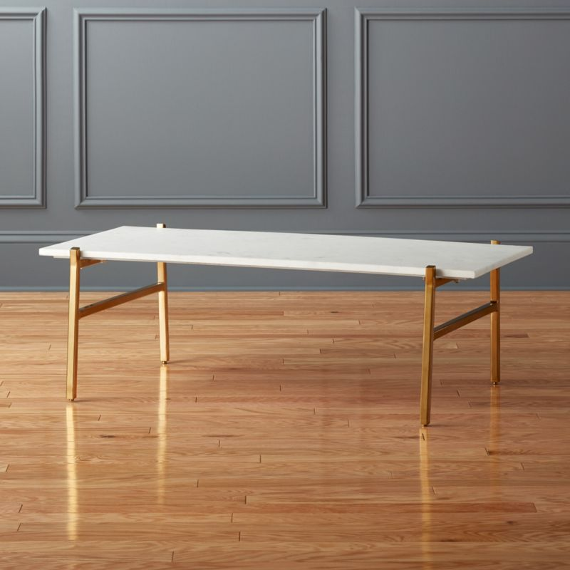 Slab Small Marble Coffee Table With Brass Base Cb2