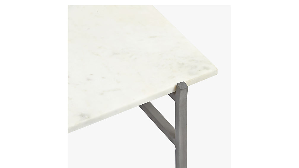 slab marble coffee table with antiqued silver base : CB2