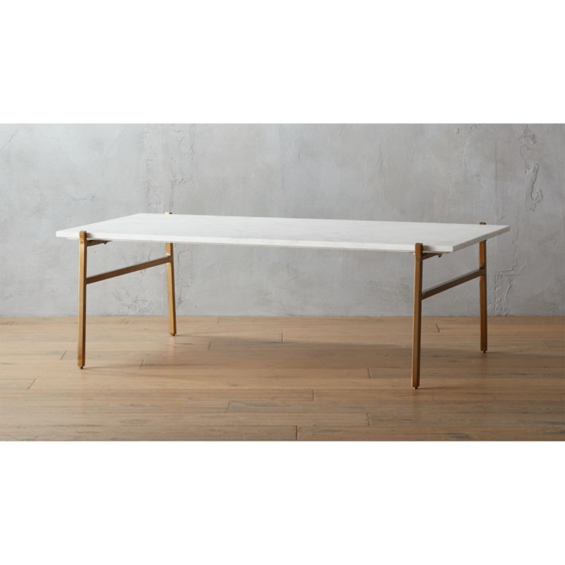 Cb2 Darbuka Brass Coffee Table: Slab Marble And Brass Coffee Table