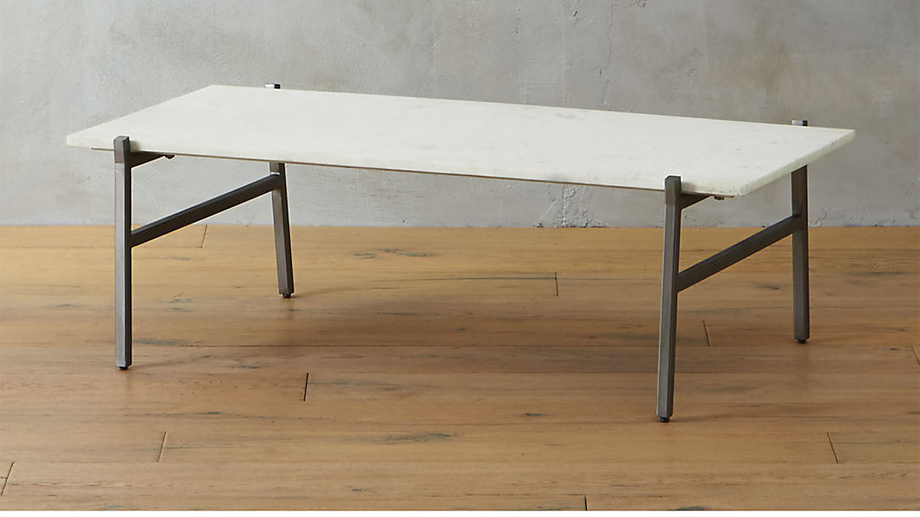 Slab White Marble Coffee Table Cb2