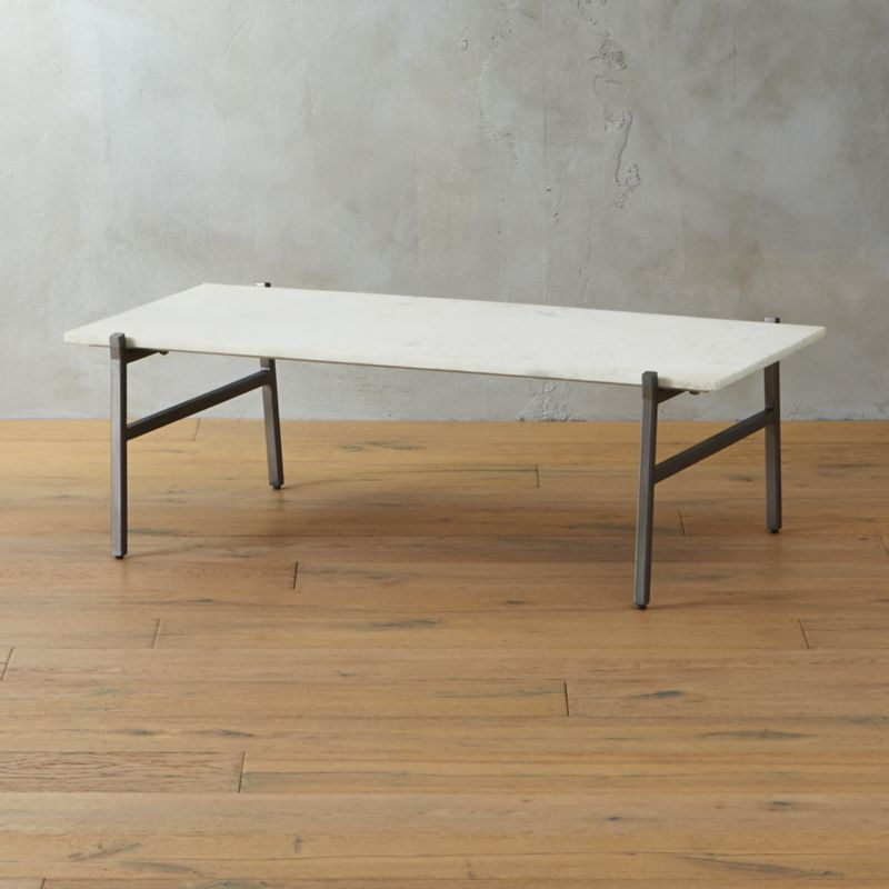 slab small marble coffee table with antiqued silver base | cb2